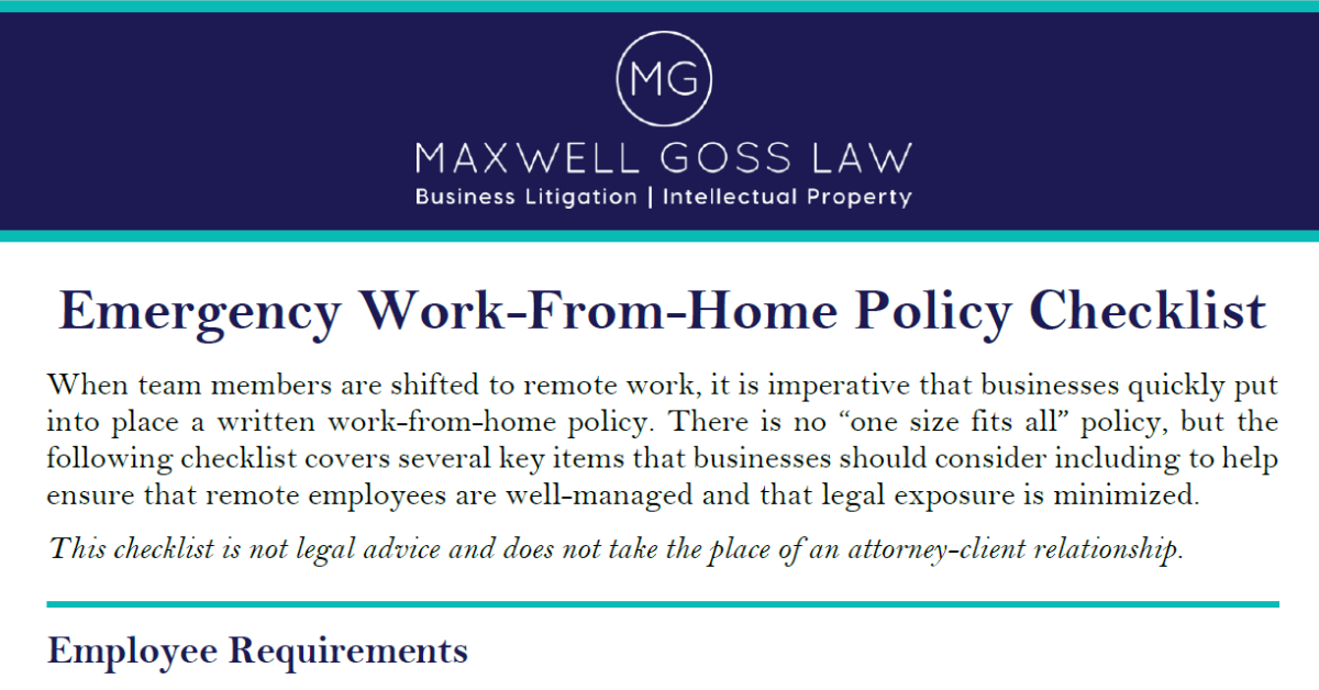 COVID LEGAL: Get Your Free Emergency Work-from-Home Policy Checklist
